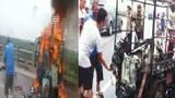 Xe ba gác bốc cháy dữ dội trên cầu Vĩnh Tuy