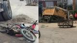 Phú Thọ: Xe máy nằm dưới bánh xe tải sau cú va chạm kinh hoàng
