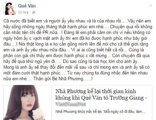 Cong khai yeu Truong Giang Nha Phuong bi Que Van da xeo-Hinh-2