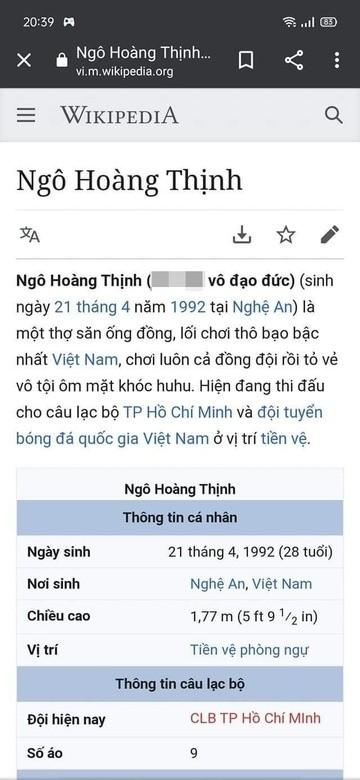 Trang Wikipedia Hoang Thinh bi chinh sua, trut gian sau cu pham loi