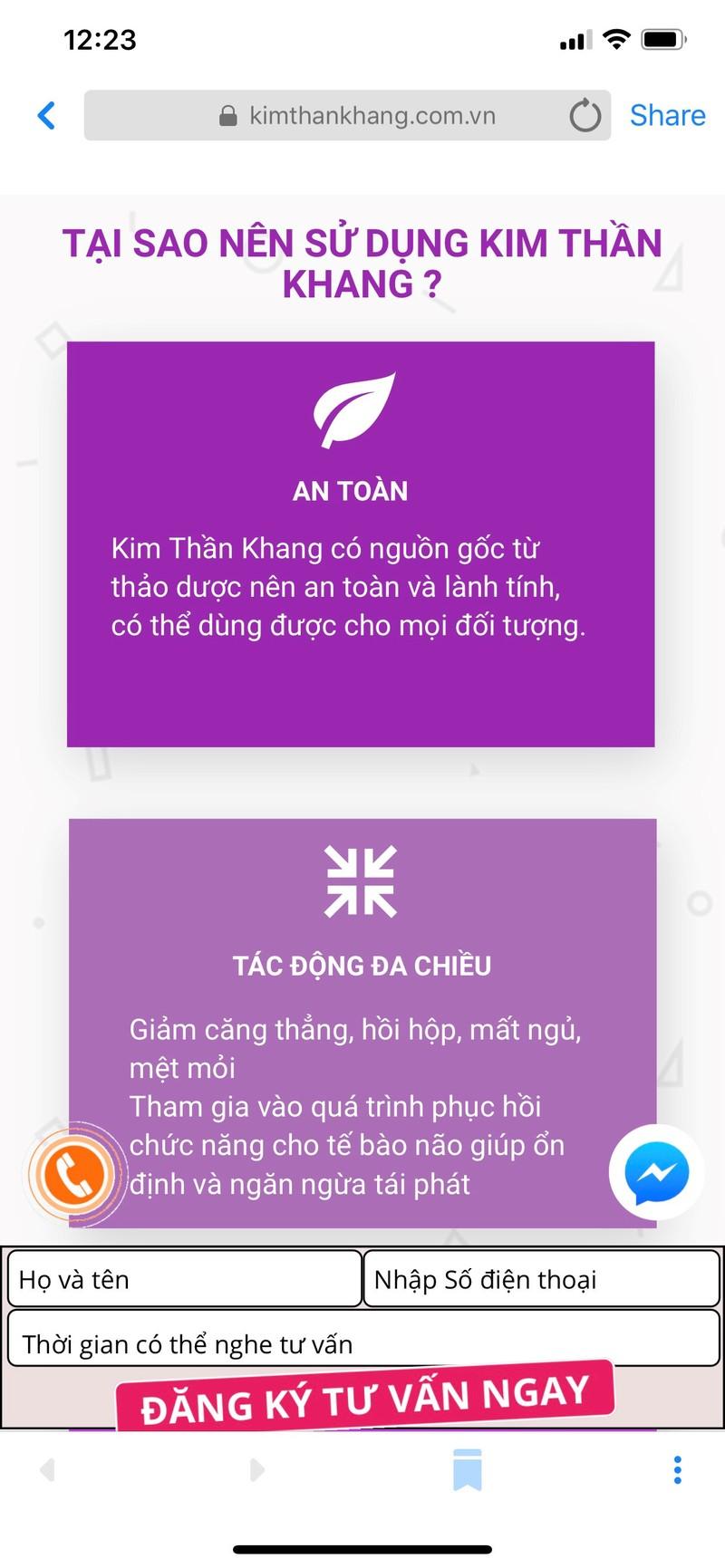 TPCN Kim Than Khang quang cao lap lo nhu thuoc... nen tay chay?-Hinh-2