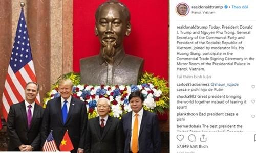 Vietjet Air xuat hien tren Instagram cua Tong thong Donald Trump