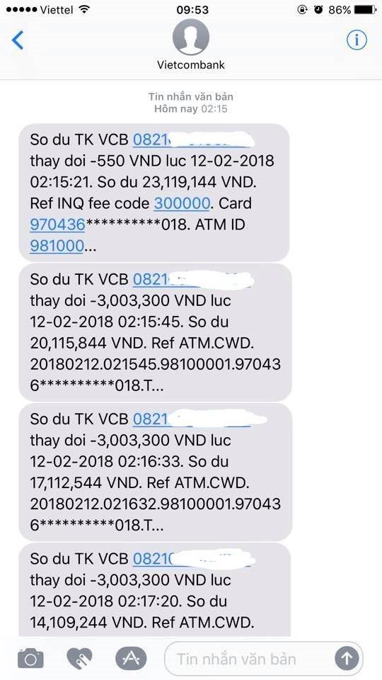 Bao nhieu vu TK khach hang Vietcombank boc hoi, ngan hang xu ly the nao?