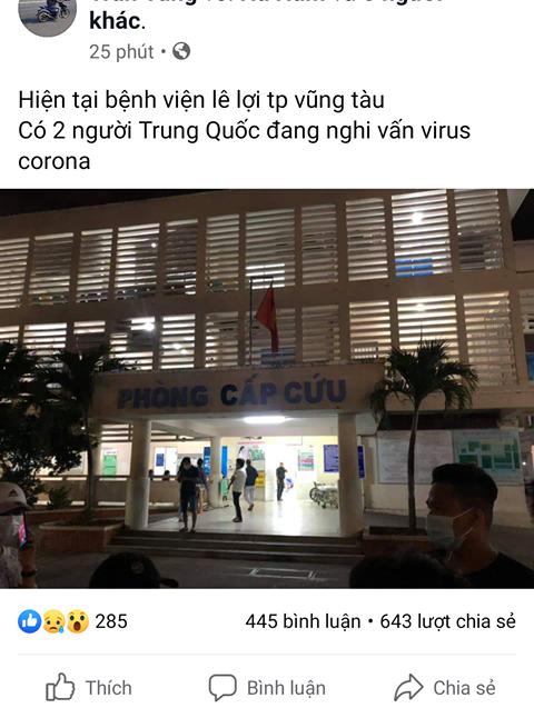 Vung Tau: Cong an lam viec voi nguoi dang tin 2 khach Trung nhap vien vi virus corona