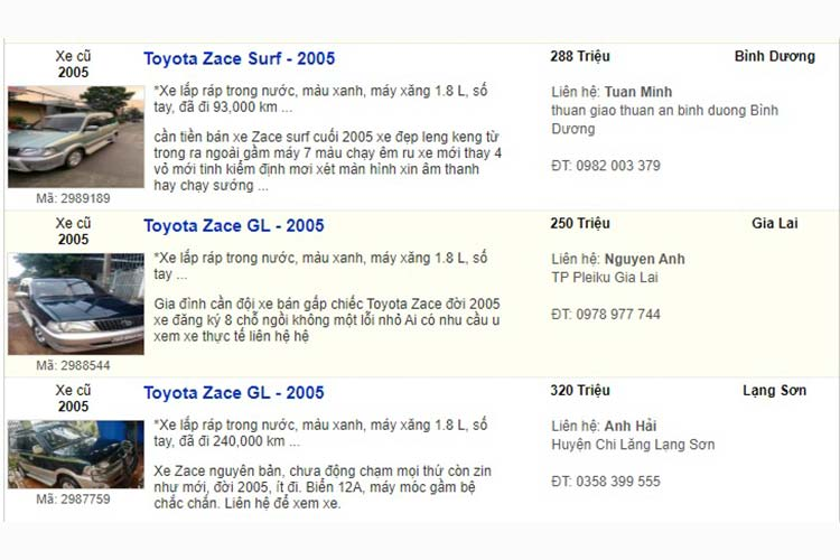 Xe Toyota Zace cu dung chan, ban dat hon ca Innova-Hinh-2