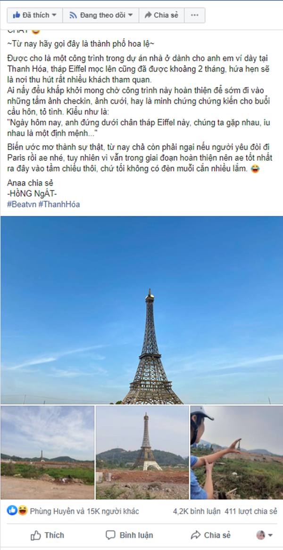 Thap Eiffel xuat hien tai Viet Nam, gioi tre khoe anh check-in