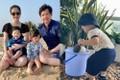 Cưng xỉu ảnh con trai Hoa hậu Đặng Thu Thảo 1 tuổi làm vườn