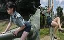 """Mặc quân phục ưỡn ẹo chụp ảnh, cô gái Đài Loan bị """"sờ gáy"""""""