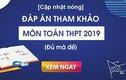 Đáp án các mã đề thi môn Toán THPT quốc gia 2019
