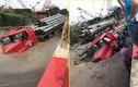 """Video: """"Hố tử thần"""" nuốt chửng đầu xe container ở Hà Nội"""