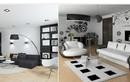 Gợi ý trang trí phòng khách với hai gam màu đen trắng