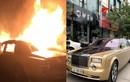 Cận cảnh Rolls-Royce Phantom mạ vàng cháy trơ khung