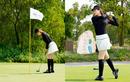 Á hậu Huyền My trổ tài chơi golf
