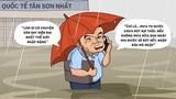 Hí họa sân bay Tân Sơn Nhất ngập nước nặng