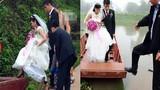 Cô dâu đu dây qua sông về nhà chồng