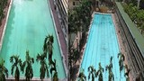 Rùng mình cảnh thả hóa chất làm sạch nước trong bể bơi