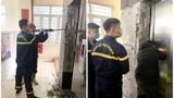 Khoan phá tường đưa thi thể công nhân bị kẹt trong thang máy ra ngoài