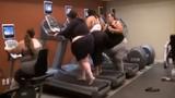 Nàng béo mướt mồ hôi với máy chạy bộ
