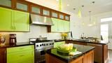 Thiết kế nhà bếp với nội thất xanh mát mẻ
