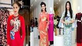 Ngắm họa tiết lạ trên áo dài của dàn Hoa hậu Việt