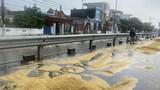 """Nông dân Hải Hậu """"khóc ròng"""" vì  thóc lúa phơi ngoài đường ngập ngụa trong mưa"""