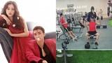 """Á hậu Phương Nga """"hộ tống"""" bạn trai Bình An đến phòng tập gym"""