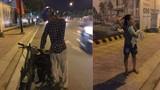 Cha con nghèo vừa dắt xe cà tàng vừa khóc nhưng hành động của cô gái lạ mới bất ngờ