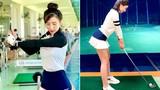 """Hotgirl Hà Thành khiến cả sân golf """"dán mắt"""" vì body nuột nà"""