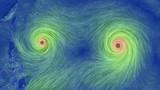 """Cận cảnh """"bão song sinh"""" xuất hiện trên Thái Bình Dương"""