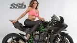 """Chân dài Mỹ """"nóng"""" cùng siêu môtô khủng Kawasaki H2R"""