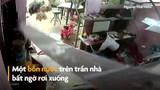Video: Cảnh bồn nước rơi từ trần nhà suýt trúng đầu bé trai