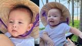 Biểu cảm của cặp song sinh nhà Hà Hồ khi đội nón lá