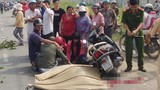 Chồng gào khóc bên xác vợ bị xe tải cán chết thảm