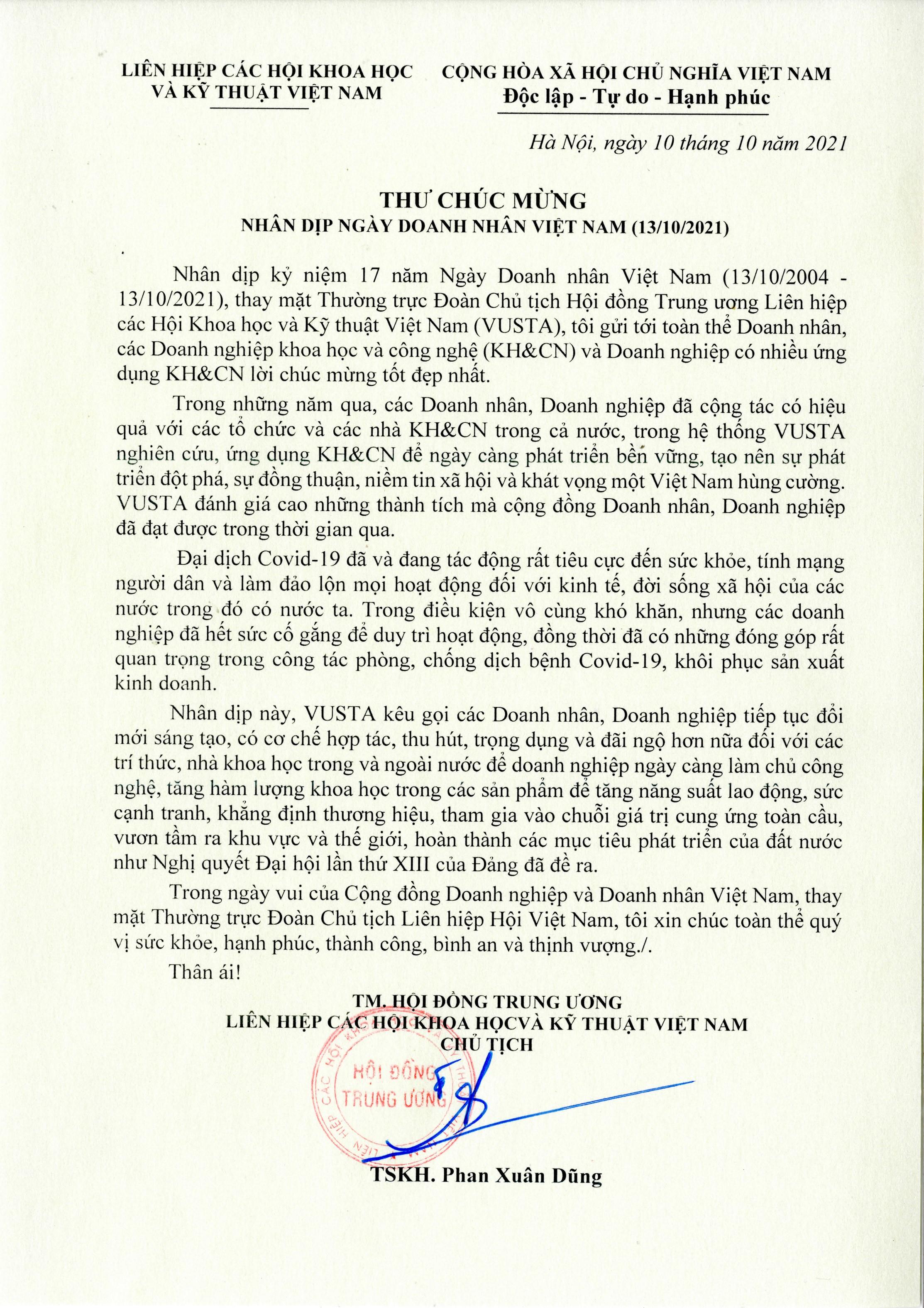 e-Magazine: Chu tich VUSTA Phan Xuan Dung gui thu chuc mung ngay Doanh nhan Viet Nam