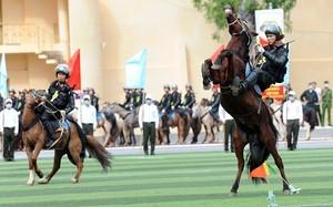Cảnh sát cơ động Kỵ binh phô diễn kỹ thuật cực đỉnh trên lưng ngựa