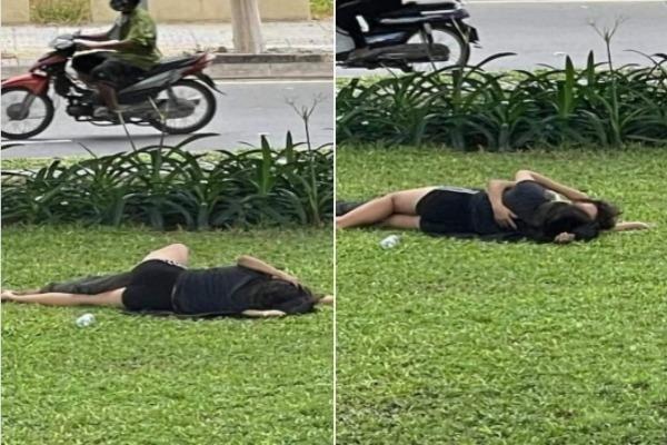 """""""Diễn cảnh nóng"""" ngay bãi cỏ ven đường, cặp đôi khiến netizen phẫn nộ"""