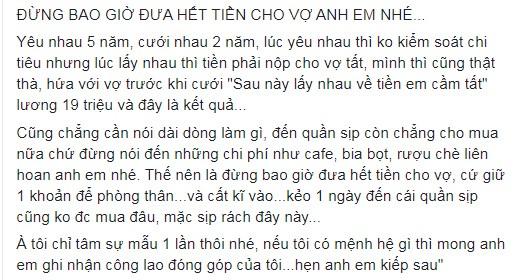 Chong nop luong 19 trieu cho vo roi ngam ngui xin tien mua do lot