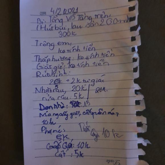 Con trai Xuan Bac giup me ghi bill thanh toan len den gan 400 nghin/ngay