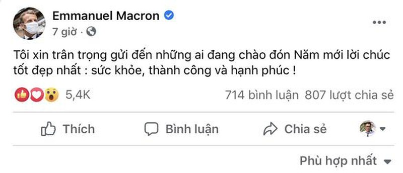 """Thong diep chuc tet bang tieng Viet cua Tong thong Phap nhan """"bao like"""""""