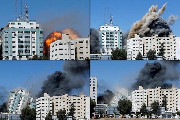 Can canh toa nha dat van phong AP o Gaza bi Israel san phang