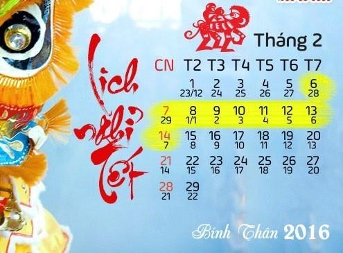 Chot phuong an nghi Tet Binh Than 9 ngay