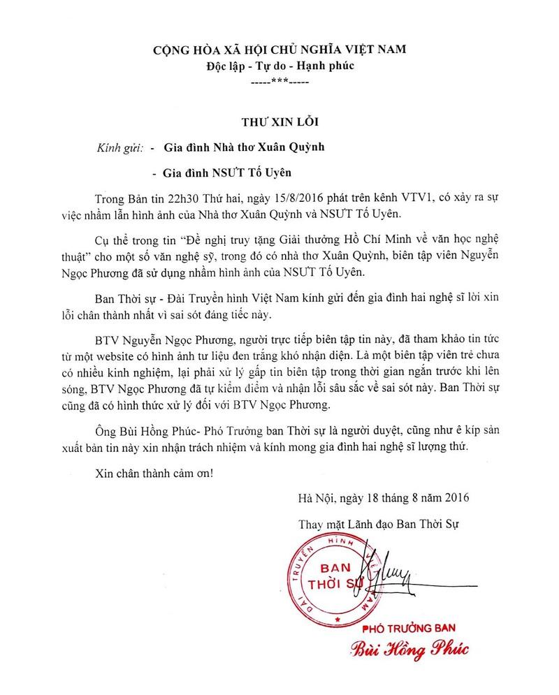 VTV xin loi gia dinh nha tho Xuan Quynh vu nham anh