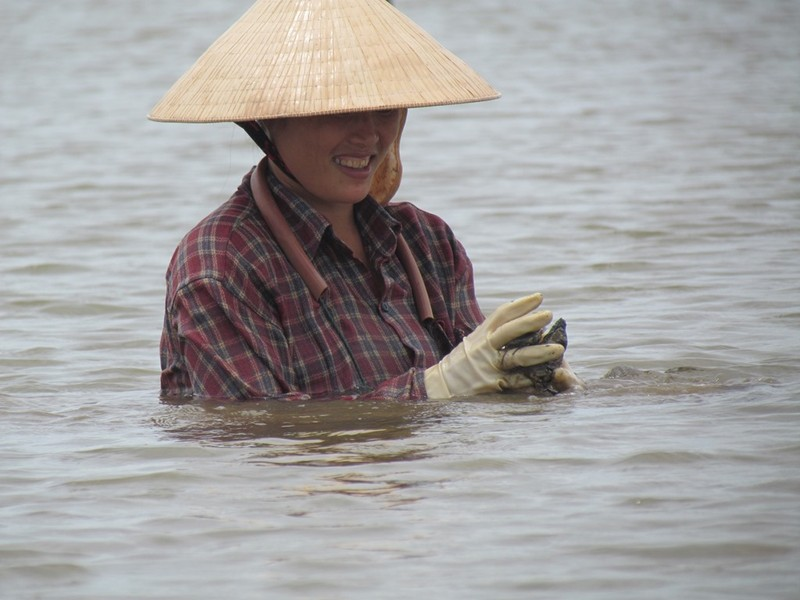 Can canh nghe dam minh trong song nuoc, di