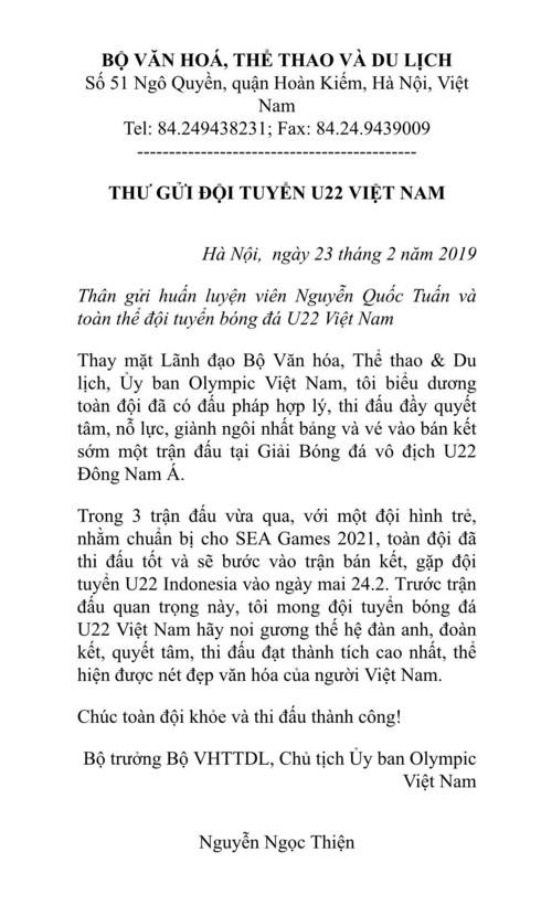 Bo truong Nguyen Ngoc Thien gui thu chuc mung U22 Viet Nam