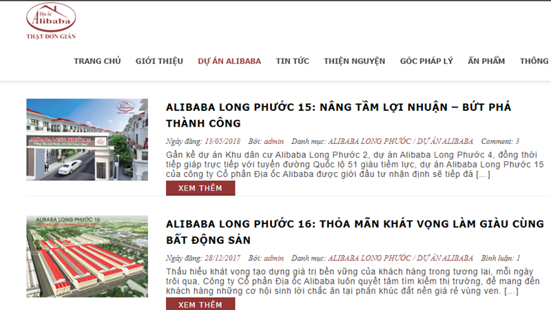 Alibaba dang tu thao do van phong trai phep tai Dong Nai