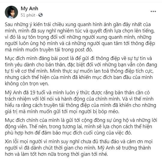 Con gai My Linh xin loi sau loat anh tut quan khoe vong 3