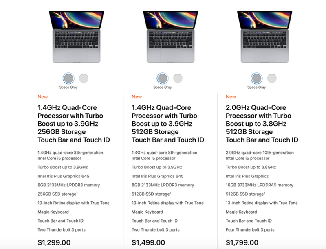 "Ra mat MacBook Pro 13"" 2020 khoe hon voi chip Intel Core the he 10"