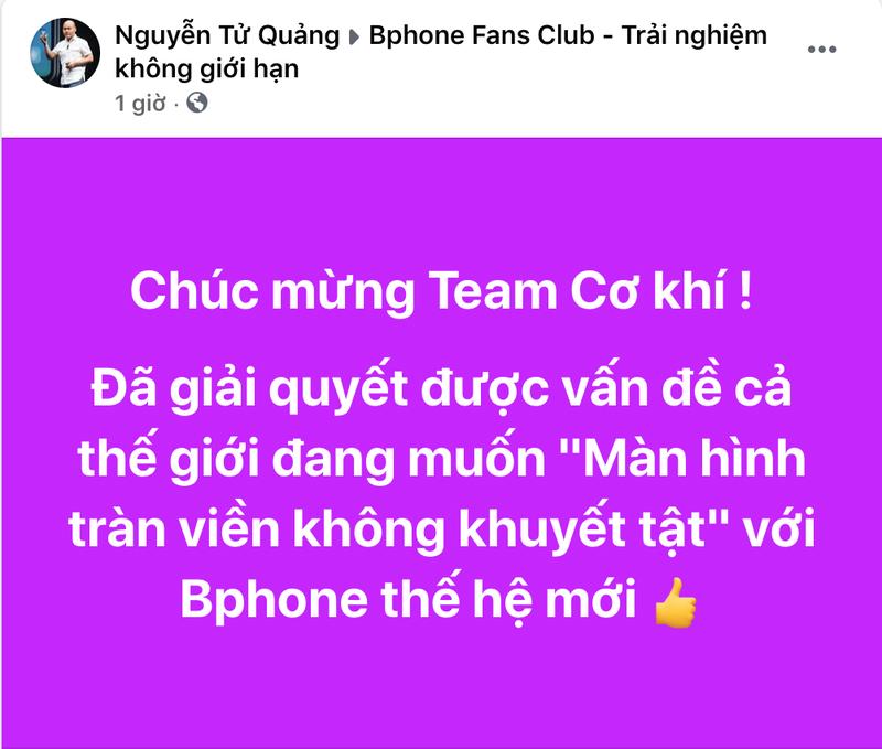 "CEO Nguyen Tu Quang ""up mo"" ve Bphone moi man hinh vo khuyet"