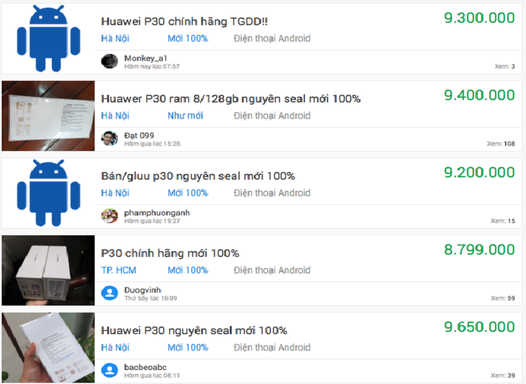Sieu pham Huawei P30 mat gia mot nua sau 4 thang