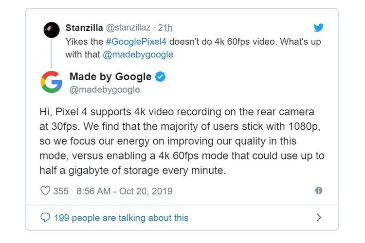 Tai sao Google khong ho tro quay video 4K 60fps tren Pixel 4?